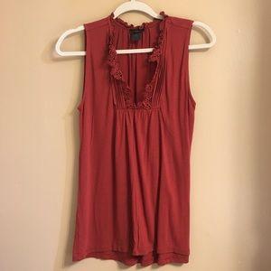 Ann Taylor ruffle high-neck lace sleeveless top